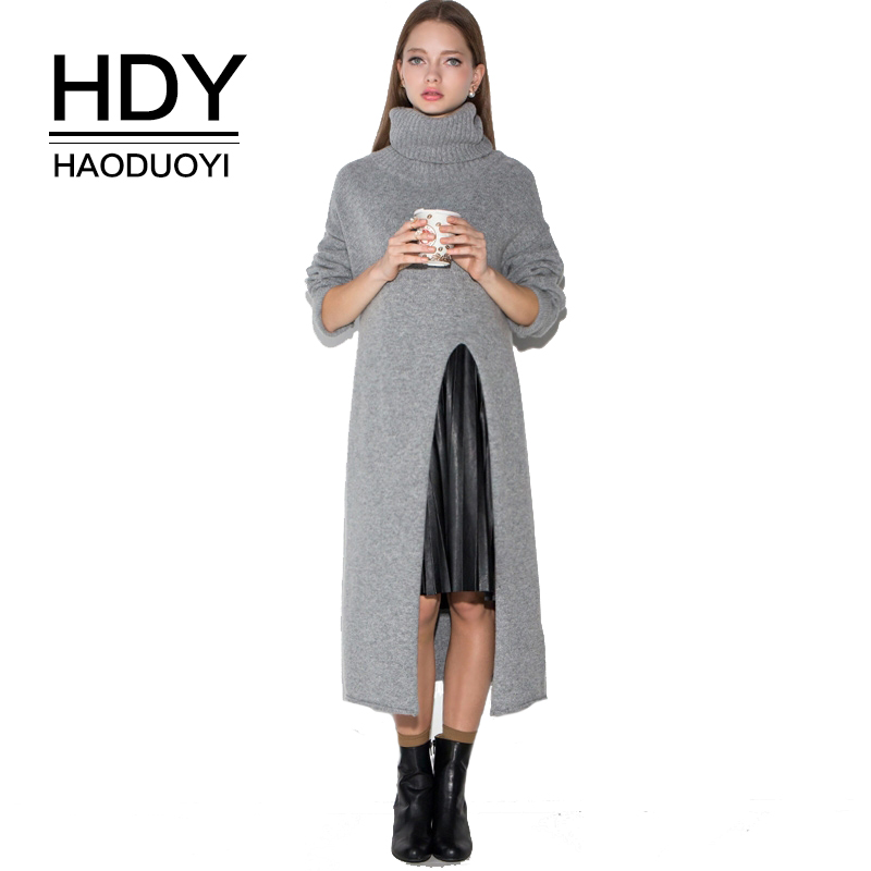 HDY Haoduoyi Women&39;s Gray Turtleneck Long Sleevee Sweater Dress Autumn Wram Side Slit Long Sweaters Pullovers Ladies Knit Tops