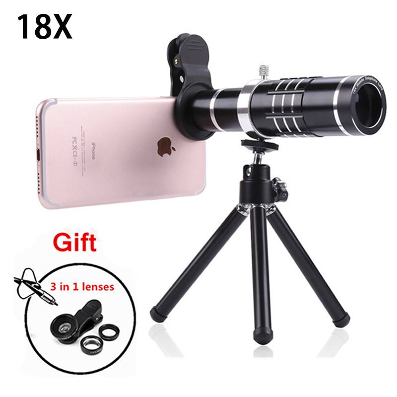 2017 Phone Camera Lenses Kit 18x Zoom Optical Telescope Telephoto Lens For HUAWEI P9 P10 PLUS Honor 8 9 mate9 With Tripod Clips
